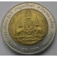 Таиланд 10 бат 1996 г. Биметалл, 26 мм. 50лет правления короля Рамы IX