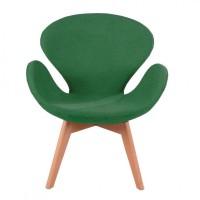 Удобное кресло Сван Вуд Армз, мягкое, зеленого цвета
