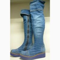 Ботфорты новые Ersax 39 25, 5 см джинсовые