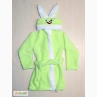Детский махровый халат Заяц с ушами и вышивкой
