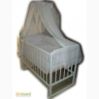 Акция!!! Кроватка на дугах Малыш белая+ матрас кокос + постель. New