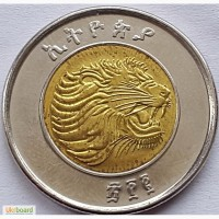 Эфиопия, 1 быр UNC!! Биметалл, 28 мм, вес 6, 75 г ЛЕВ!!! Отличная