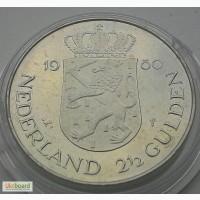 Нидерланды 2 1/2 гульдена 1980 юбилейная СОСТОЯНИЕ