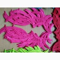 Кружево нашивное, лейсы пришивные розовые флуорисцентные