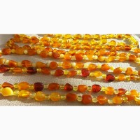 Изысканные янтарные ожерелья, бусы из натурального полированного янтаря