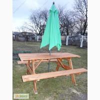 Дачная садовая деревянная мебель стол с лавками