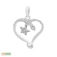 Золотой кулон сердце с бриллиантами 0,12 карат. НОВЫЙ
