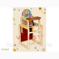 Детский стульчик для кормления трансформер 1 божья коровка на голубом фоне