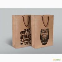 Пакеты бумажные для ресторанов с логотипом, полиграфия