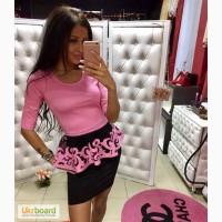 Костюм женский молодежный кофта-баска с перфорацией +юбка (5 цветов)