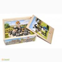 Барашек Шон деревянные кубики 12шт. Развивающая игрушка из дерева