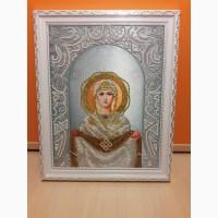 Икона ручной работы Покров Пресвятой Богородицы (отмечается 14 октяюря). Чешский бисер