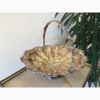 Винтажная фруктовница из посеребренного метала