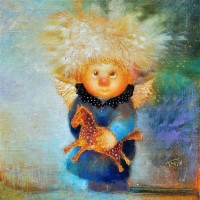 Купить копию маслом картины Галины Чувиляевой Солнечный ангел с лошадкой
