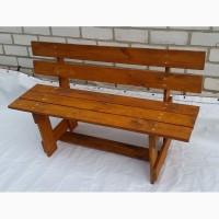 Лавка садовая деревянная МАКСИМ. 1200х720х425 цвет ОРЕХ