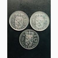 1 гульден 1967-1980г. 3 монеты. Нидерланды