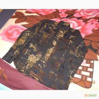 Продам чёрную рубашку с светло-коричневыми разводами