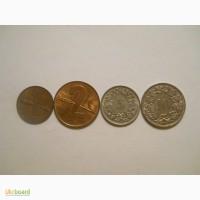 Монеты Швейцарии (4 штуки)