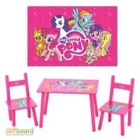 Столик M 1522 Розовый пони, деревянный, 2 стульчика, в кор-ке, 59, 5-39, 5-23см