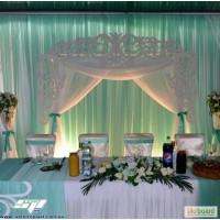 Свадебная арка, резная ширма, ажурные колоны для президиума и выездной регистрации