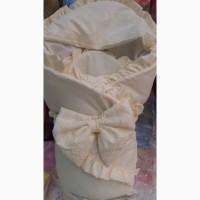 Детский нарядный конверт - одеяло бежевый, микрофибра