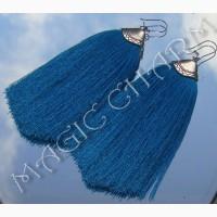 Продам голубые серьги-кисти