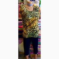Летний женский костюм Леопард(блуза+бриджи)