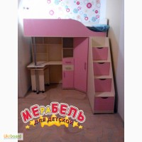 Кровать-чердак с выдвижным столом и угловым шкафом (кл24) Merabel