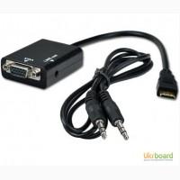 Конвертер HDMI-VGA (сигнал HDMI в аналоговый VGA) + аудио