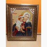Красивая икона Пресвятая Богородица Покрывающая (Домодедовская). Чешский бисер