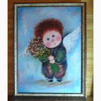 Картина маслом на подарок, копия картины Чувиляевой Мой зимний ангел