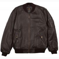 Шкіряна чоловіча льотна куртка MA-1 Leather (коричнева)