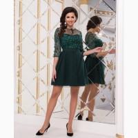 Зелёное коктейльное платье с рукавами