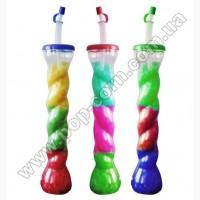 Стакан пластиковый для слаша с крышкой и трубочкой, 0.4л