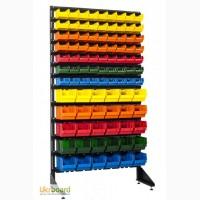 Напольный стеллаж металлический 1.8 м Пластиковые контейнеры для витрин Лотки для метизов