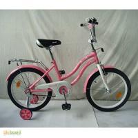 Велосипед детский PROF1 18 дюймов L1891 Star, розовый, зеркало, звонок, доп.колеса