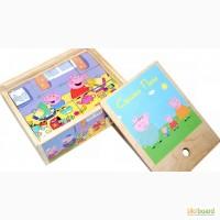 Деревянные кубики Свинка Пеппа, развивающая игрушка для малышей