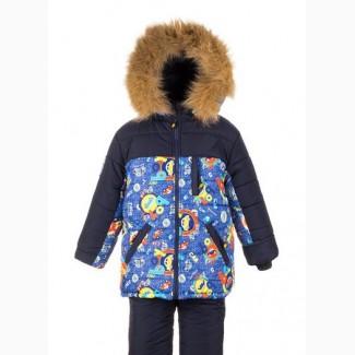 Детские зимние комбинезоны -тройка для мальчиков 1-6 лет-Тачки опт и розница