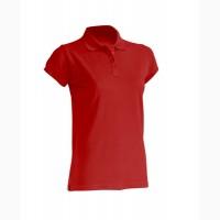 Женская футболка-поло красная 100% хлопок