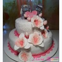 Свадебный торт с орхидеями и мишками Тедди
