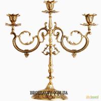 Подсвечник на 3 свечи Барокко (бронза)