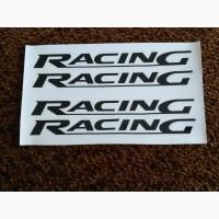 Наклейки на ручки Racing Черная, диски, дворники авто 4 штуки