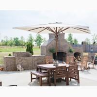 Зонт квадратный деревянный МИЛАН 3х3м, для дома, кафе и ресторана