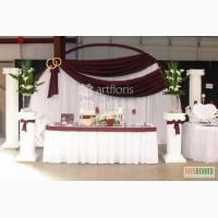 Украшение свадебного стола и фона, оформление президиума тканями