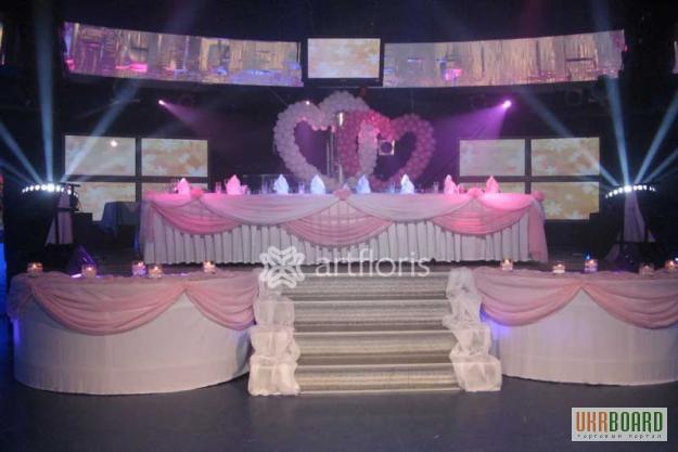 Свадебного стола и фона оформление