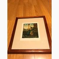 Срочно скидка 300$Картины графика, оттиски одни из первых, рамка из красного дерева