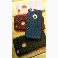 Чехол силикон айфон 5 5s se 6 6s 7 8 7+ 8plus x плетеный с вырезом для яблока