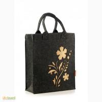 Сумка женская с цветком из войлока feltforyou, сумка из войлока, сумочка (нова)