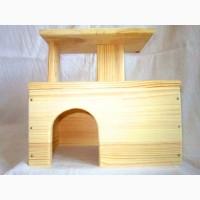 Деревянный домик 2 этажа для шиншилл, морских свинок и др. грызунов