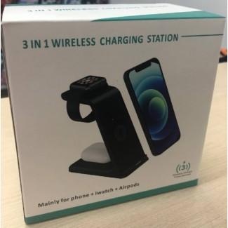 Беспроводная зарядка 3 в 1 Wireless Charging Station T3 15W Дистанция сенсора: 20-50 мм
